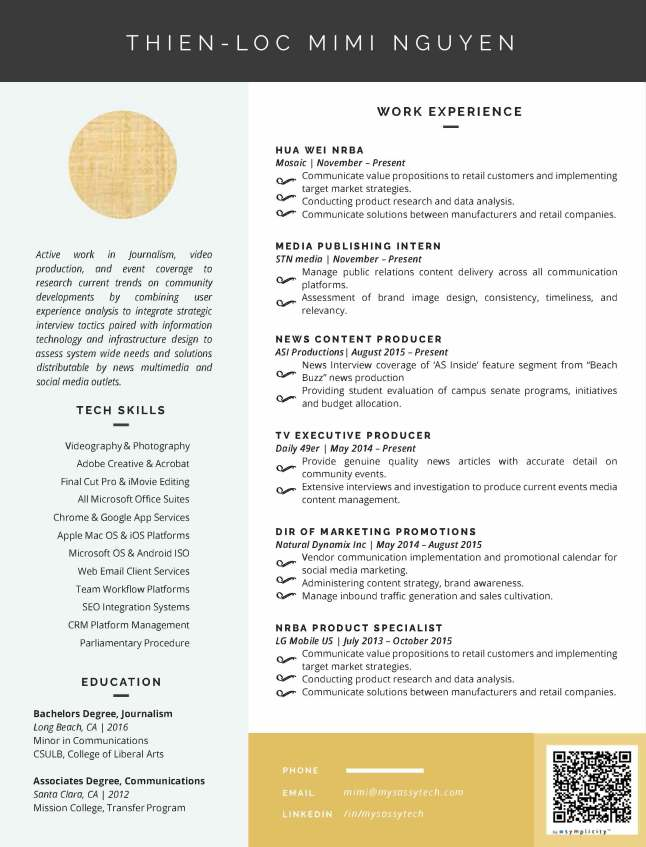 My One Page Detailed Resume